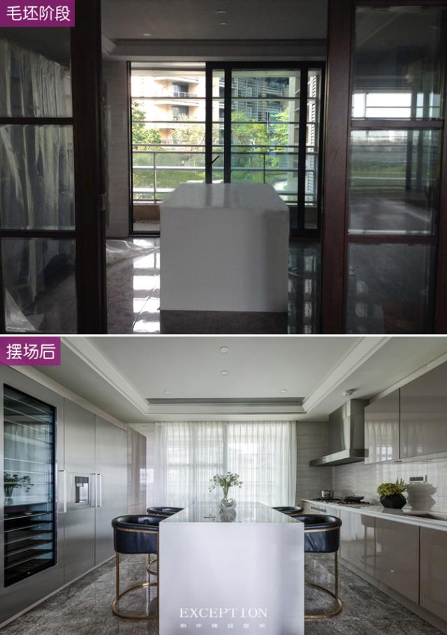 毅气风发--招商双玺豪宅软装设计全案-  厨房前后对比图:   第22张图片