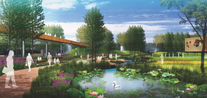 """[北京]""""海绵城市""""生态都市型农业景观河道两岸绿化设计方案"""