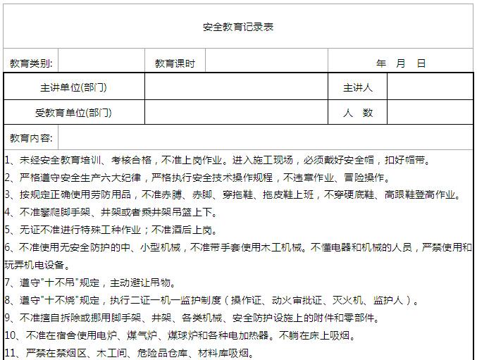 大厦项目安全管理实施细则(100页)