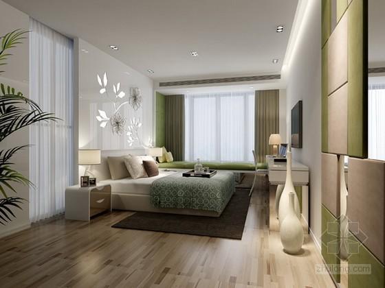 简约时尚清新风格卧室3d模型下载