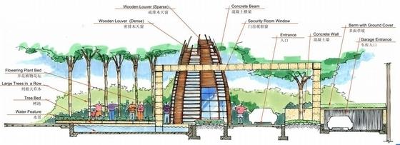 [成都]自然曲线现代住宅规划设计方案-景观剖面图