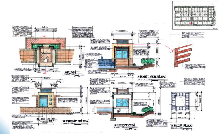 [海南]田园居住区景观方案修改及深化方案-入口岗亭详图