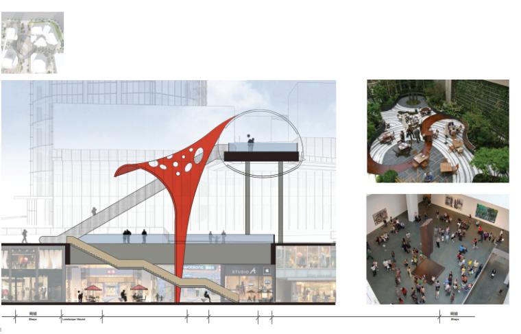 [浙江]休闲开放商业绿地景观概念设计-广场剖面图