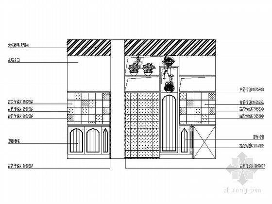 名师设计田园风情复式样板间装修施工图(含效果)厨房立面图