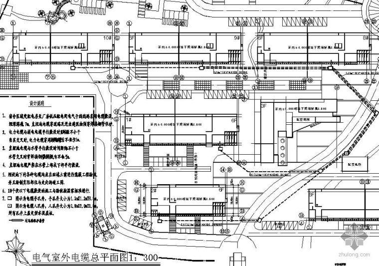 某宿舍楼电气室外电缆平面图