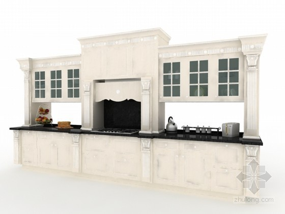 白色整体橱柜3d模型下载