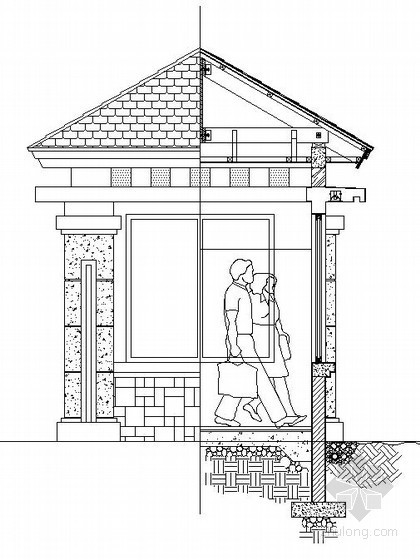 小区入口门卫室施工详图