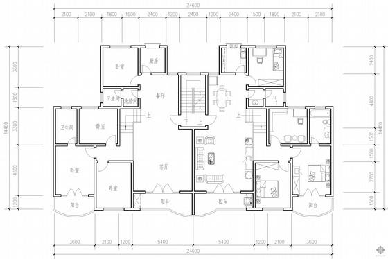 板式多层一梯二户户型图(149/149)