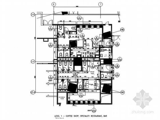 知名酒店公共厕所室内装修施工图