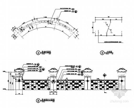 弧形景墙节点详图