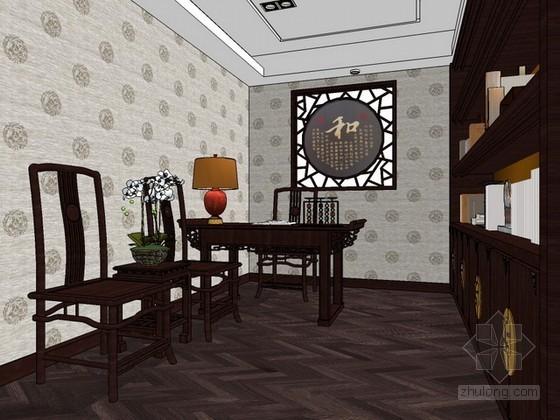 中式风格书房sketchup模型下载