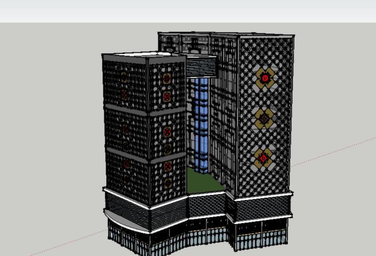 现代设计风格商业su模型建筑设计