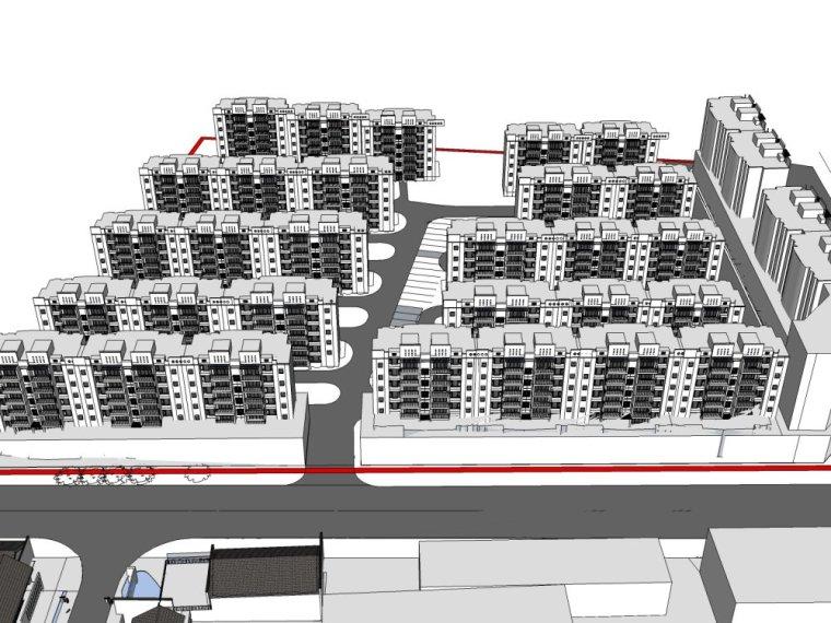 东方新古典,2层中式规划模型商业街SU模型