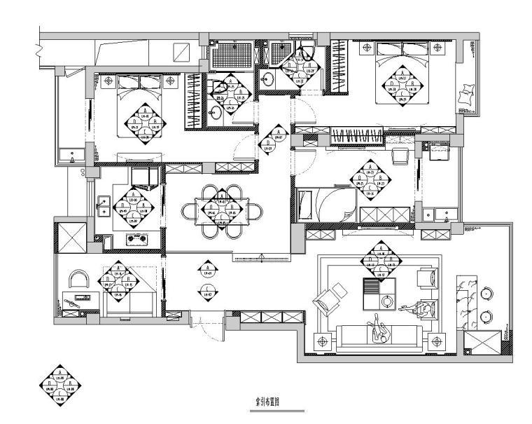 丽景天城样板房室内施工图设计