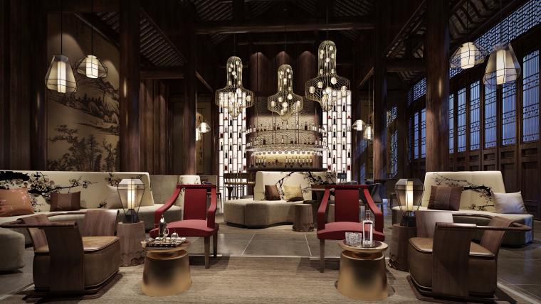 古墨山水|中式风酒店休闲空间设计3D模型(附效果图)
