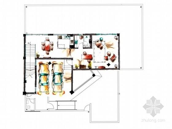 [成都]现代古典四层城市别墅室内方案图