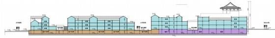 [山东]仿古风格步行商业街概念性修建规划设计方案文本(含CAD)-仿古风格步行商业街概念性修建规划剖面图