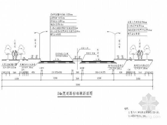 [重庆]工业园区54米宽SMA沥青玛蹄脂碎石道路工程施工图91张(含雨污水 照明)