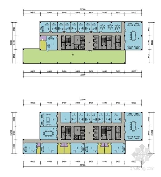 [四川]现代风格高层市区行政办公建筑设计方案文本-现代风格高层市区行政办公建筑平面图