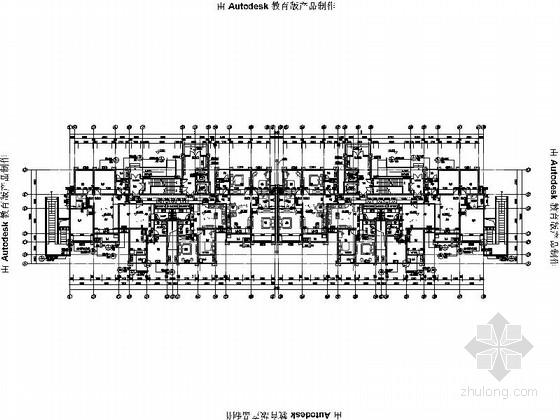 [安徽]Artdeco风格三十二住宅安置区建筑施工图(画图精细推荐参考)-Artdeco风格三十二住宅安置区建筑首层平面图