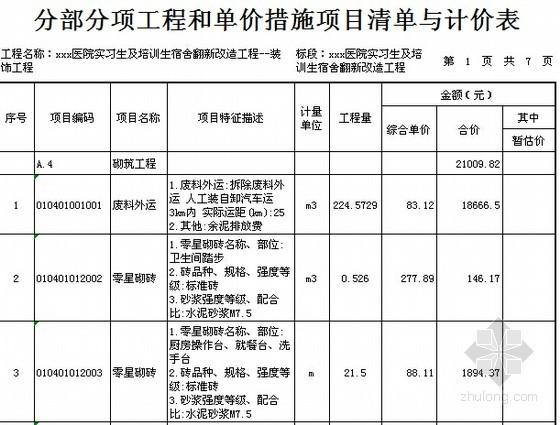 [广东]2015年医院宿舍楼装修工程预算书(附施工图纸)-01分部分项工程和单价措施项目清单与计价表(装饰)