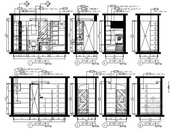 [山东]三层现代风格别墅室内装修施工图(含实景效果图)-[山东]三层现代风格别墅室内装修施工图(韩实景效果图)卫生间立面图