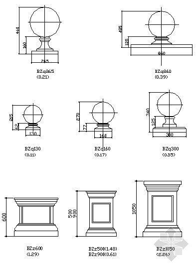 柱幅、柱墩、栏杆扶手、压脚