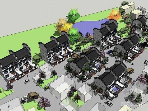 徽派建筑规划SketchUp模型下载