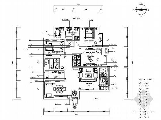 现代艺术三居室公寓设计图