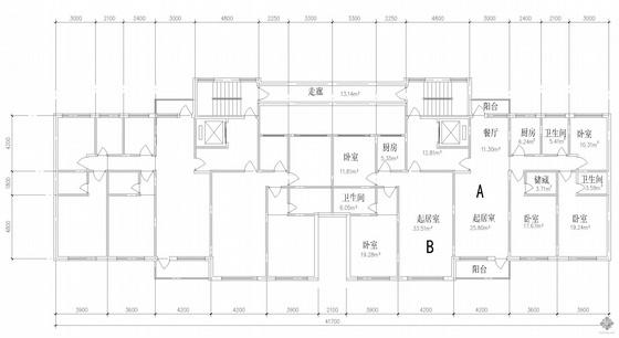 塔式高层一梯二户公寓建筑户型图(143/103)