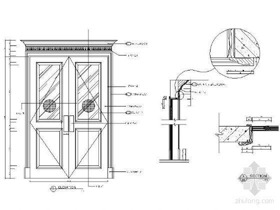 欧式双开造型门详图