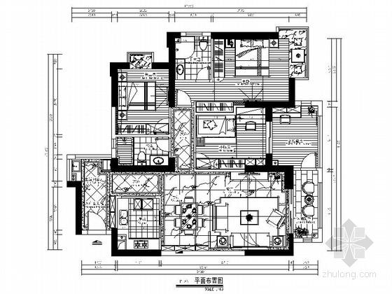 [北京]精品欧式风格三居室室内装修施工图(含效果)