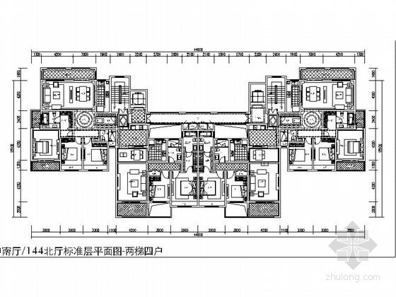 某高层住宅小区蝶形两梯四户平面图(118 143平米)