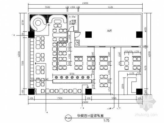 [河南]简约中式风格快餐厅室内装修施工图(含效果)
