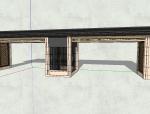 居住区大门景观SU模型设计(新中式风格)
