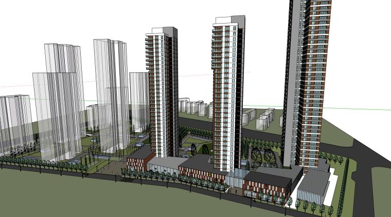 高层小区建筑模型设计
