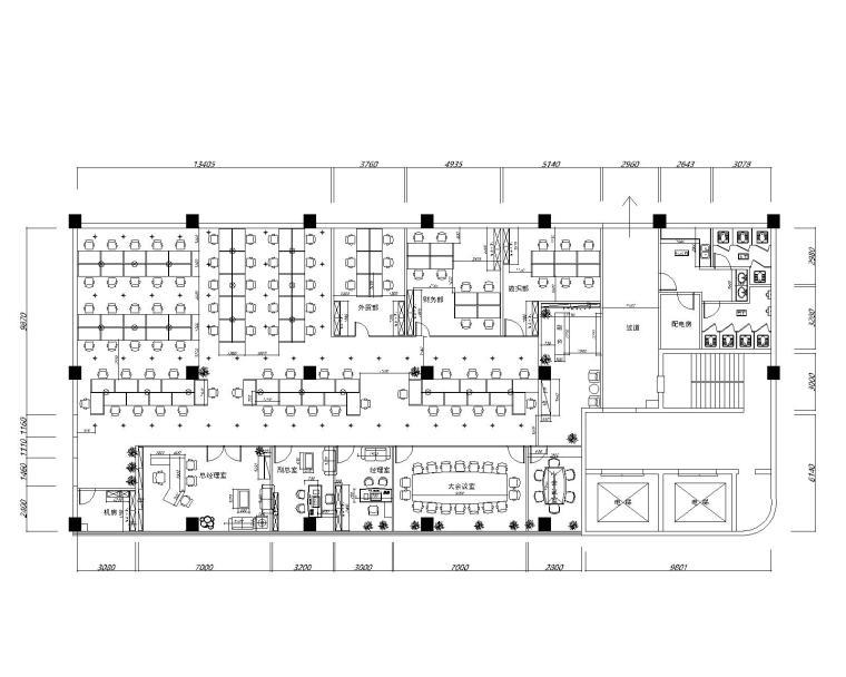 仁恒区广场办公室装修设计施工图+效果图