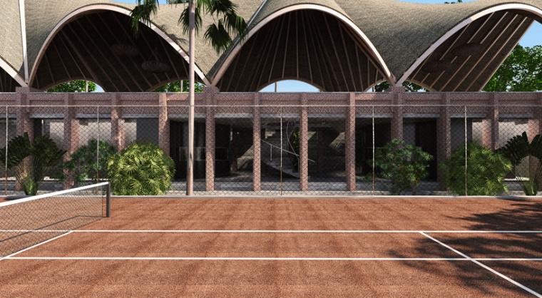 印尼带有运动感和节奏感的网球俱乐部效果图 (3)