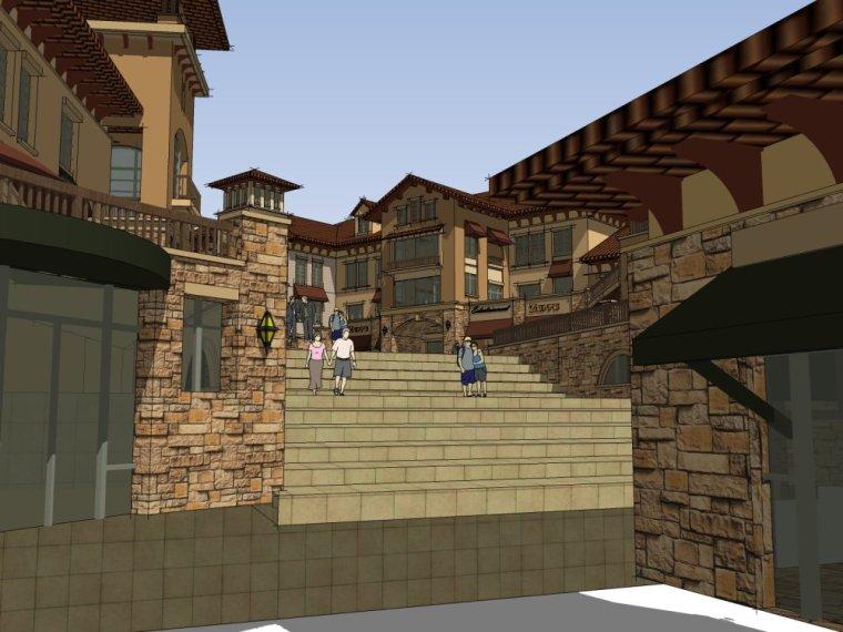 住宅商业街欧式风格与西班牙风格组合设计(su模型)