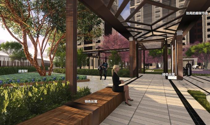 [江西]新中式东方盛唐帝景深宅庭院景观规划设计方案-休闲廊架景观效果图