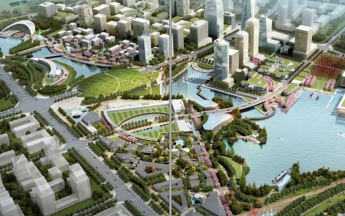 [江苏]滨江现代低碳示范区山水田园城市规划景观设计方案