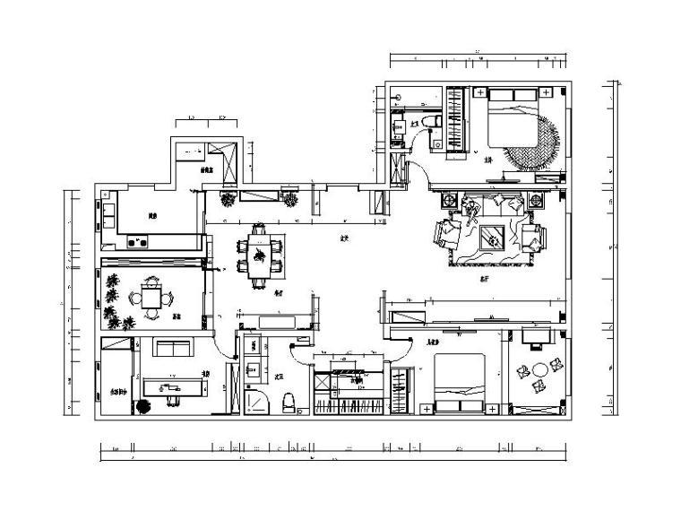 简朴新中式样板房CAD施工图(含效果图)