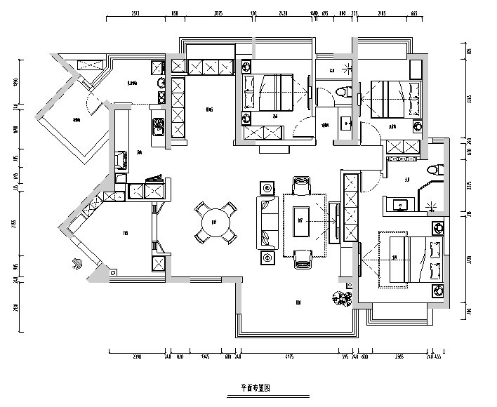 【四川】新中式美式混搭风格样板房设计施工图(附效果图)_3