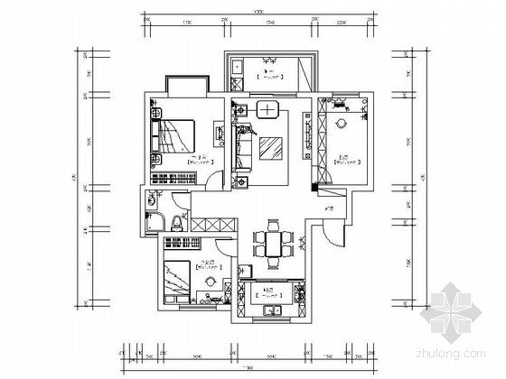 某时尚简约三室二厅装修施工图