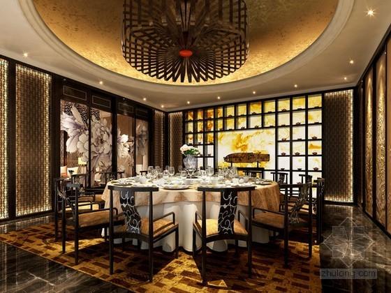 豪华中式餐厅包间3d模型下载