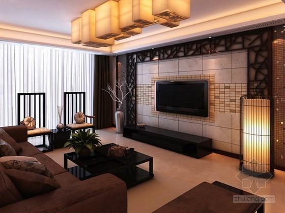 vr材质下载资料下载-中式客厅3d模型下载
