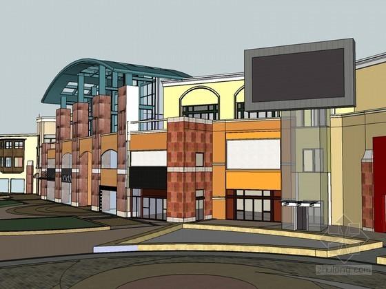 商业街道SketchUp模型下载-商业街道