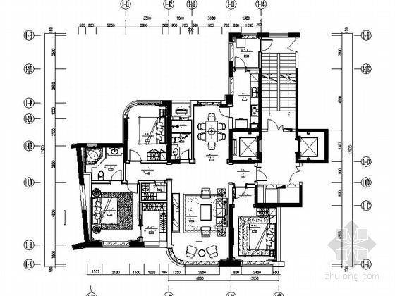 [分享]三室两厅装潢样板间资料下载