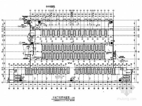 69个车位框架结构半地下车库结构施工图(含建筑图)