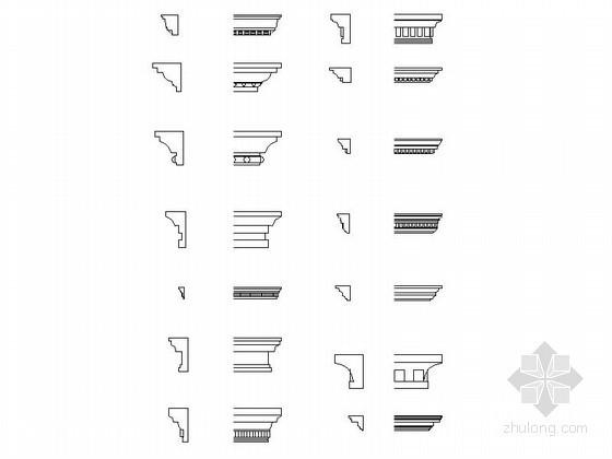 欧式构件檐线成套CAD图块下载